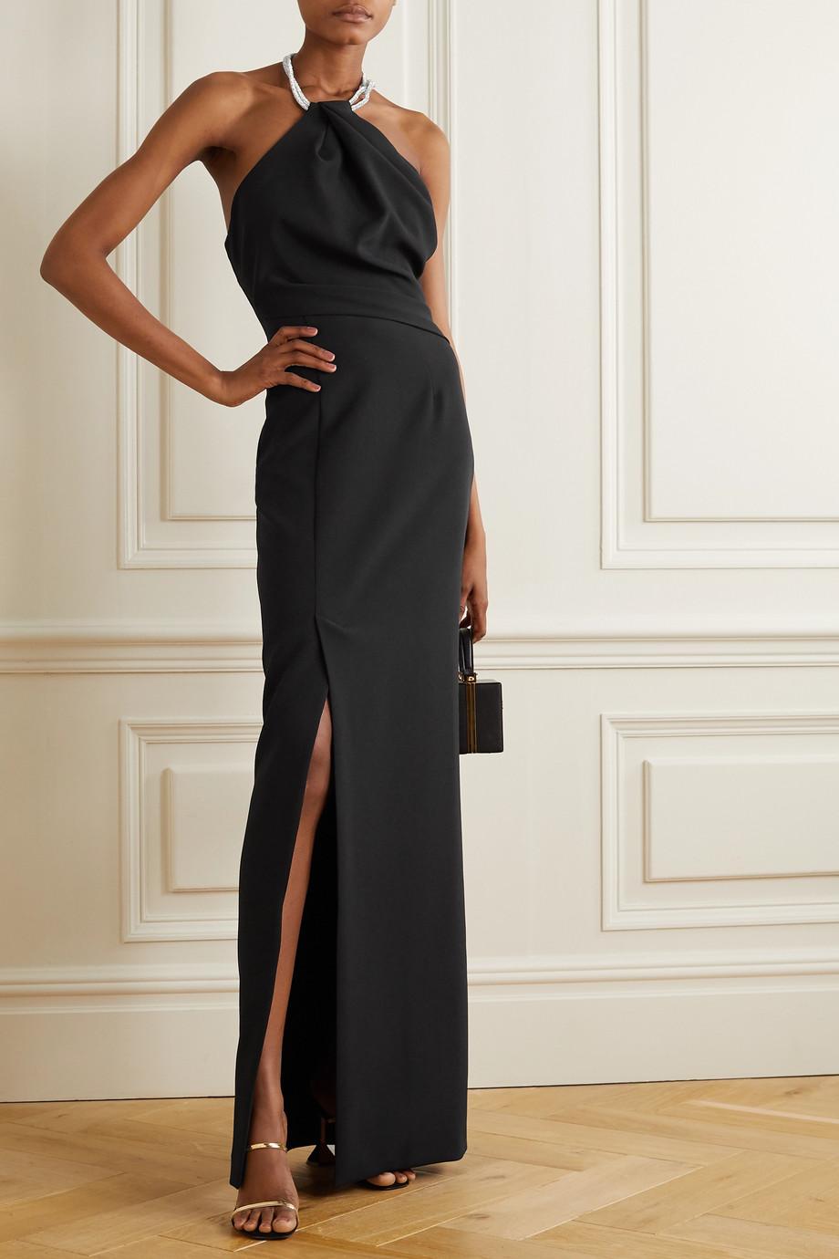 Solace London Danette 水晶缀饰弹力绉纱挂脖超长连衣裙
