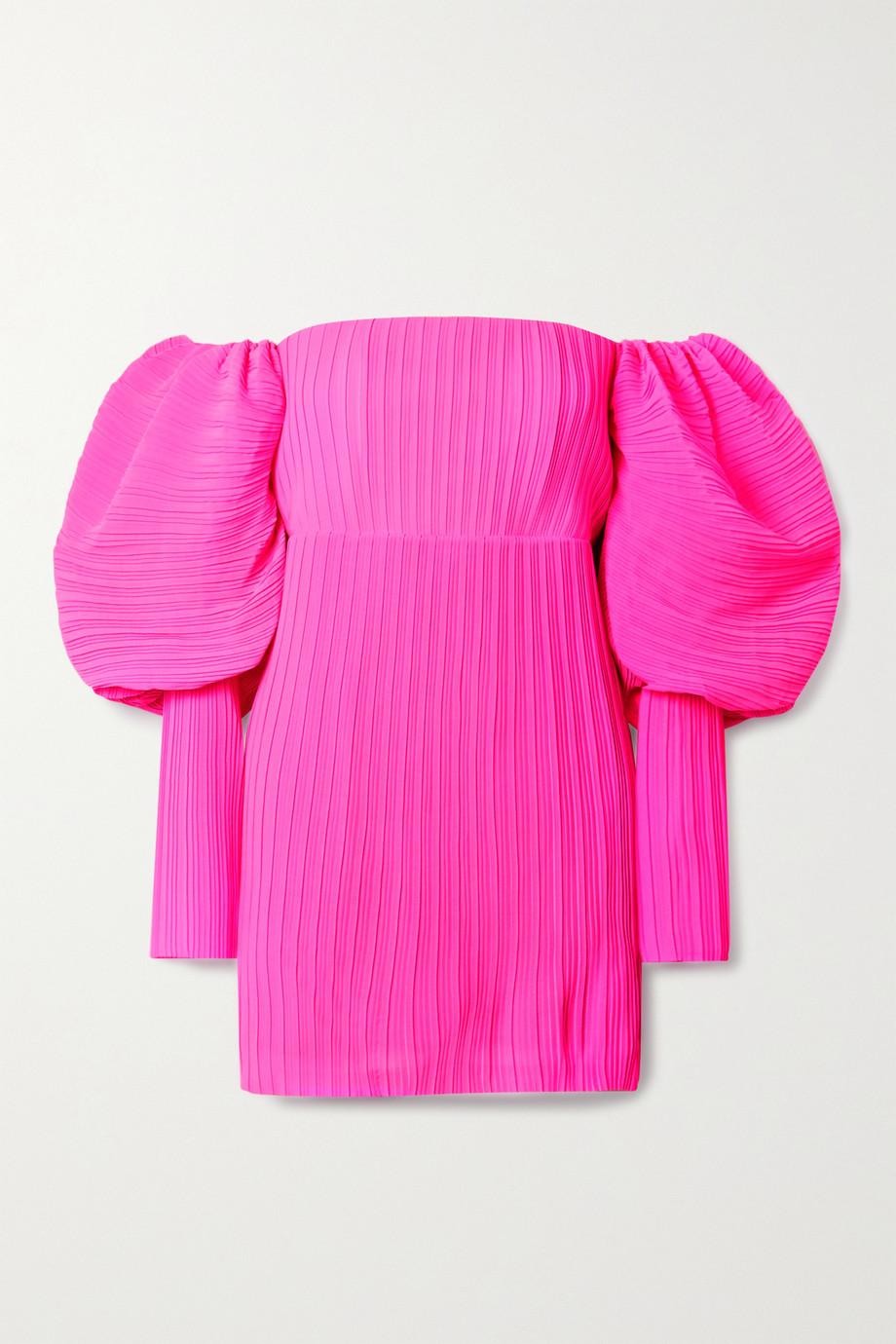 Solace London Skye off-the-shoulder neon plissé-chiffon mini dress