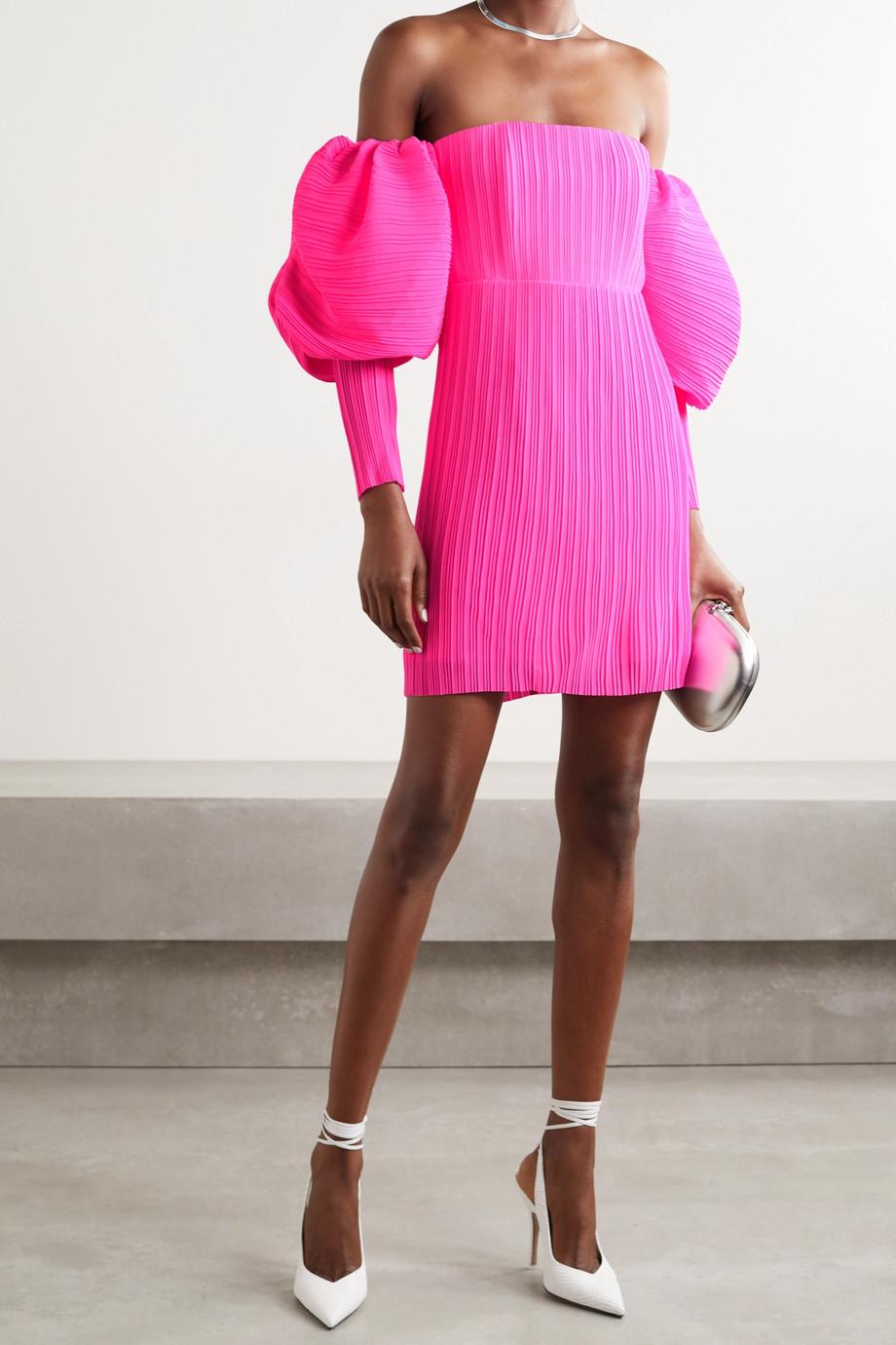 Solace London Skye schulterfreies Minikleid aus neonfarbenem plissiertem Chiffon