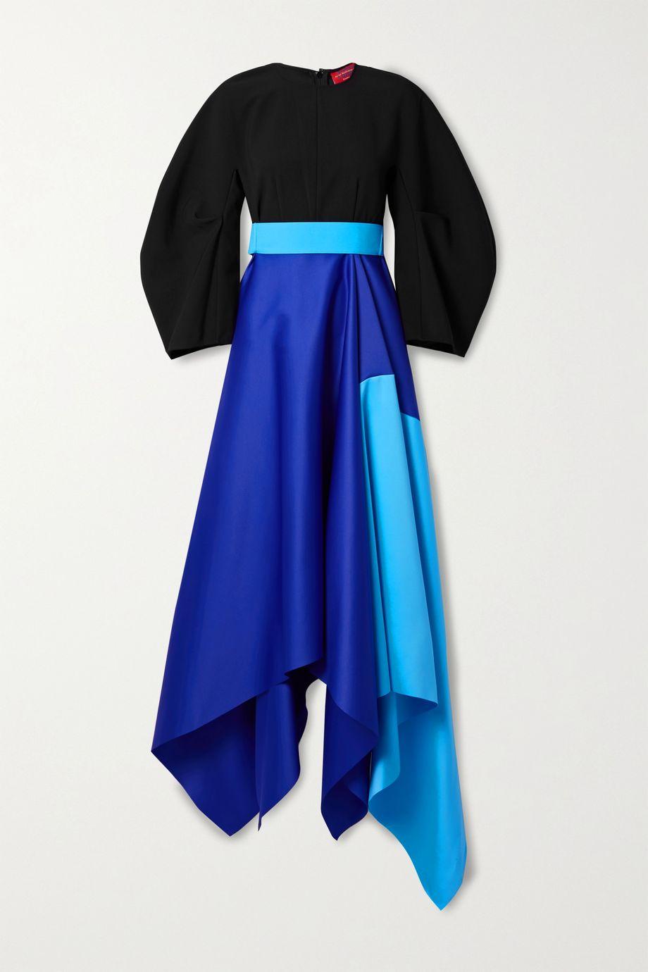 Solace London Quinn asymmetric color-block crepe and duchesse-satin gown