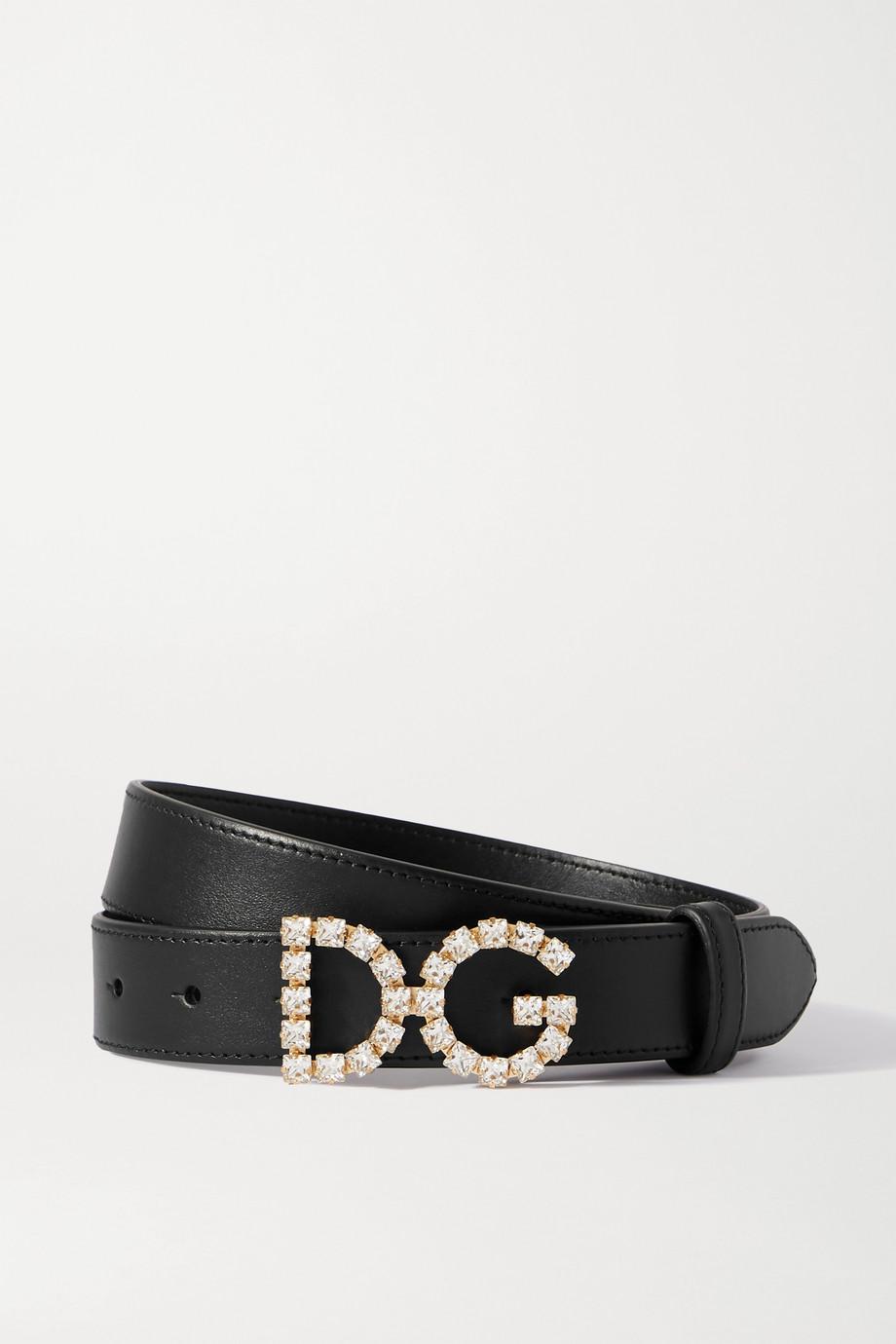 Dolce & Gabbana Taillengürtel aus Leder mit Kristallen