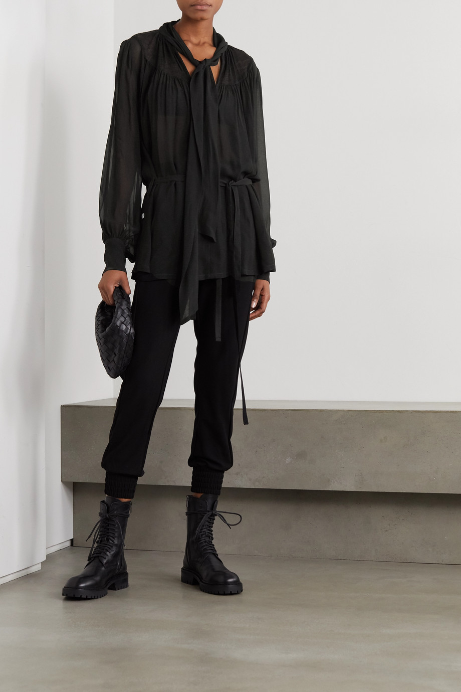 Ann Demeulemeester Pussy-bow belted chiffon blouse