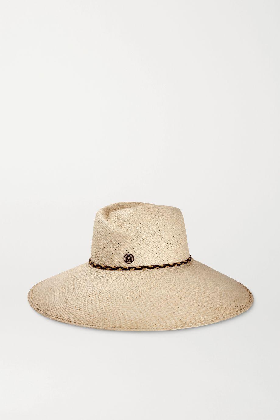 Maison Michel Big Virginie leather-trimmed straw hat