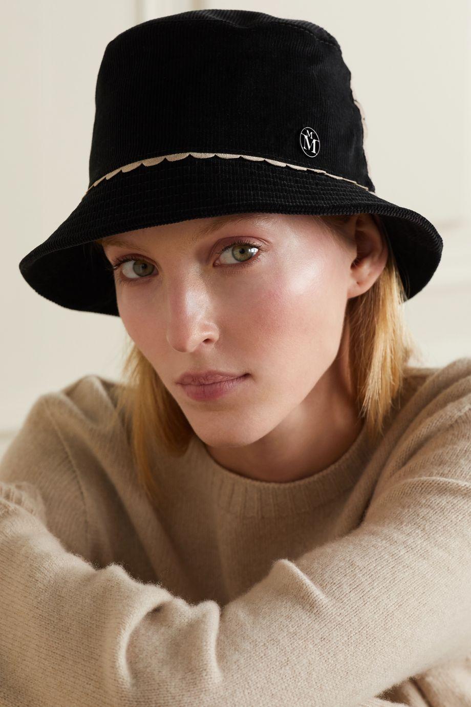 Maison Michel Jason scalloped cotton-corduroy bucket hat
