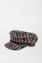 Maison Michel New Abby leather-trimmed metallic bouclé-tweed cap