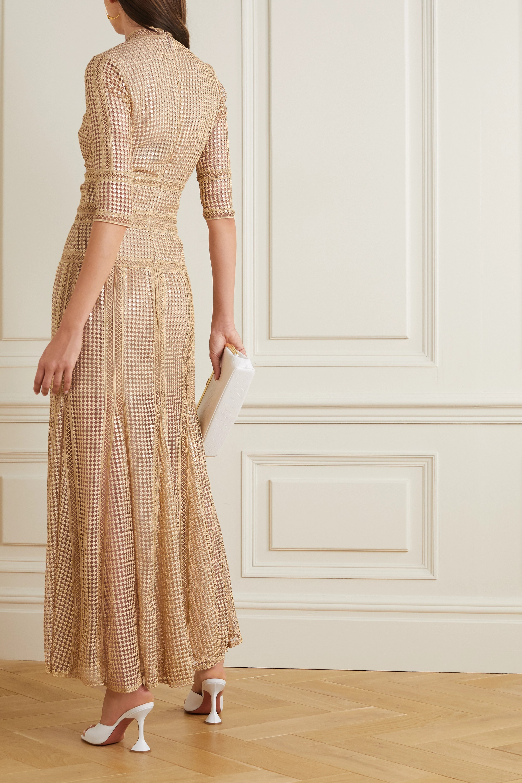 Costarellos Trina sequined crocheted lace maxi dress