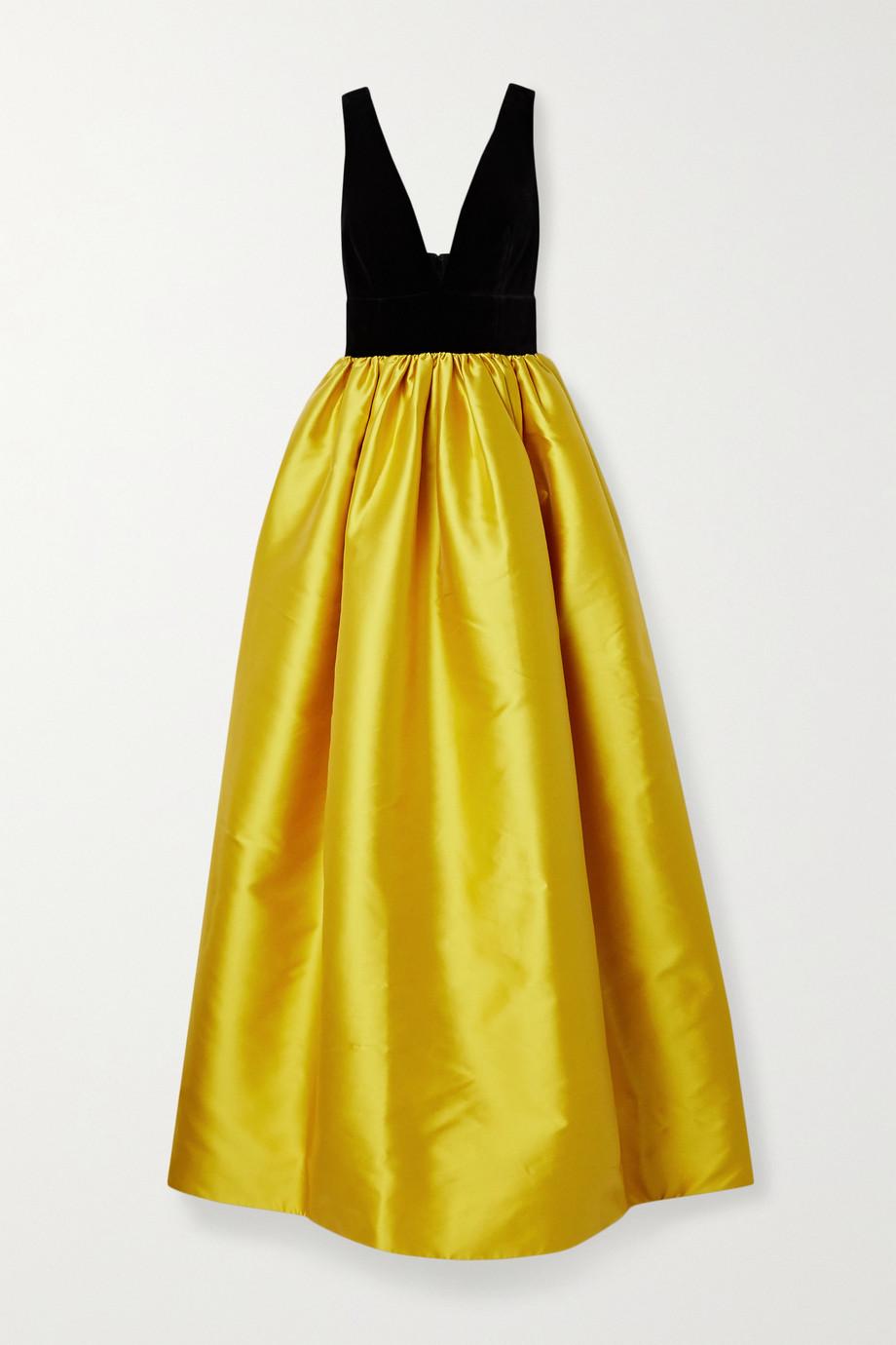 Costarellos Lissa velvet and taffeta gown