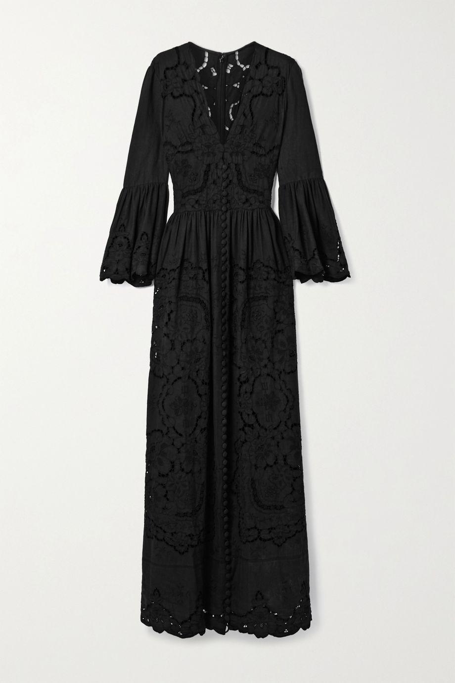 Costarellos Rusie Robe aus einer Mischung aus Seide, Leinen und Baumwolle mit Stickereien