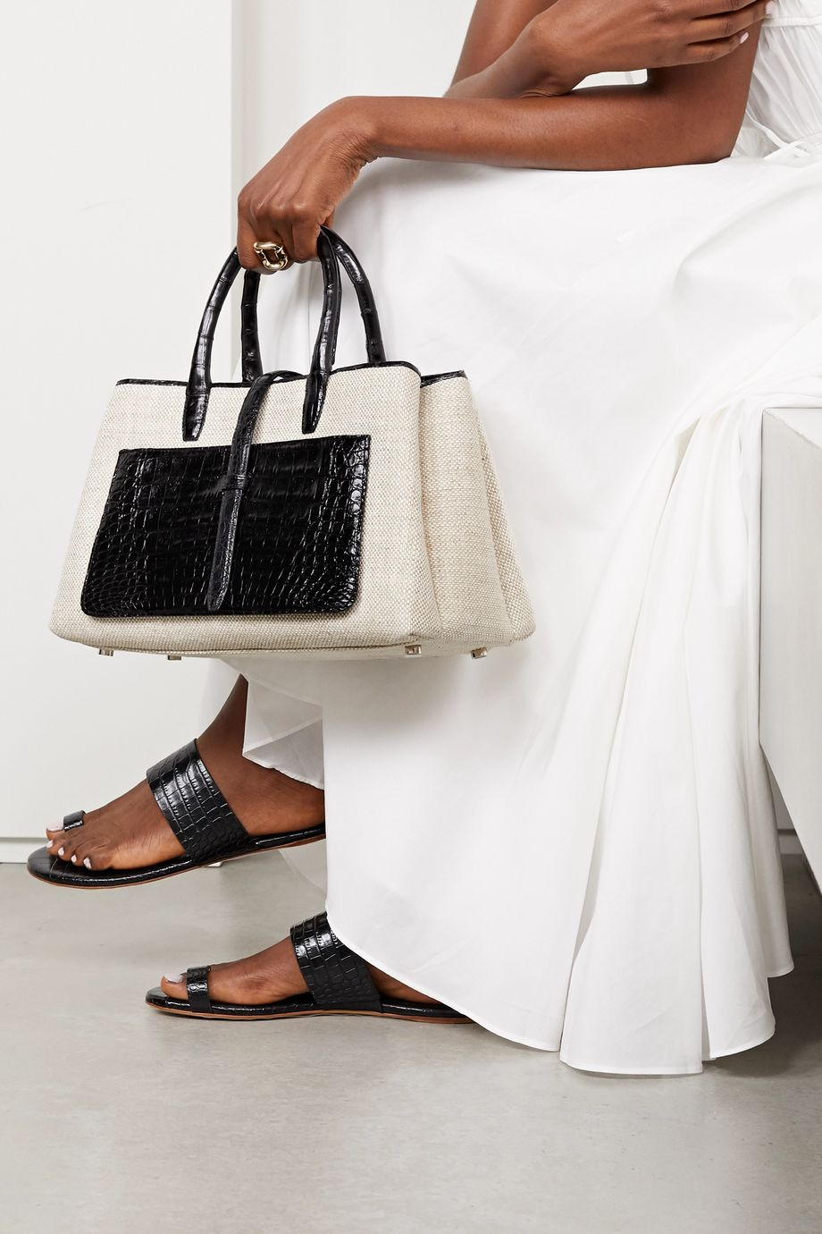 Nancy Gonzalez Astrid two-tone crocodile and linen tote