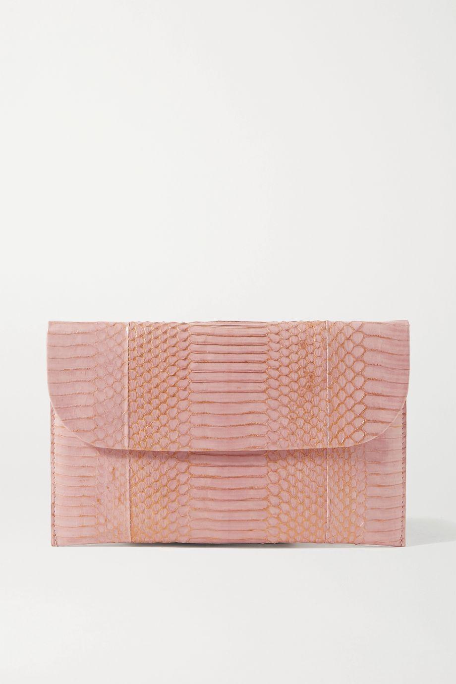 Nancy Gonzalez Envelope metallic elaphe clutch