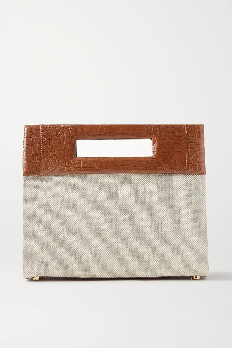 Nancy Gonzalez Keyhole two-tone crocodile and linen tote
