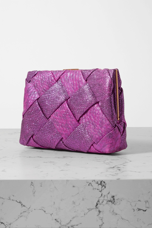 Nancy Gonzalez Woven metallic watersnake clutch