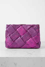 Nancy Gonzalez Woven metallic watersnake clutch