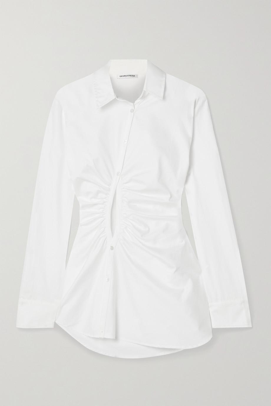 Georgia Alice Universe cutout gathered cotton-poplin shirt