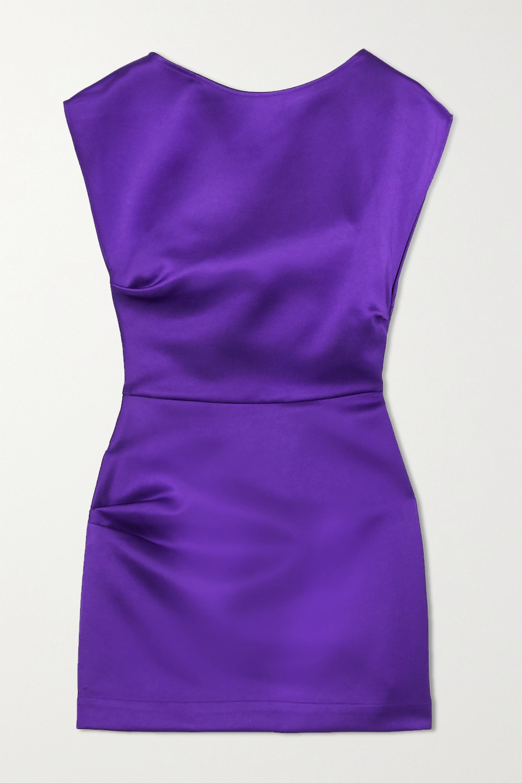 Violet Mini-robe En Satin À Fronces Lily | Georgia Alice