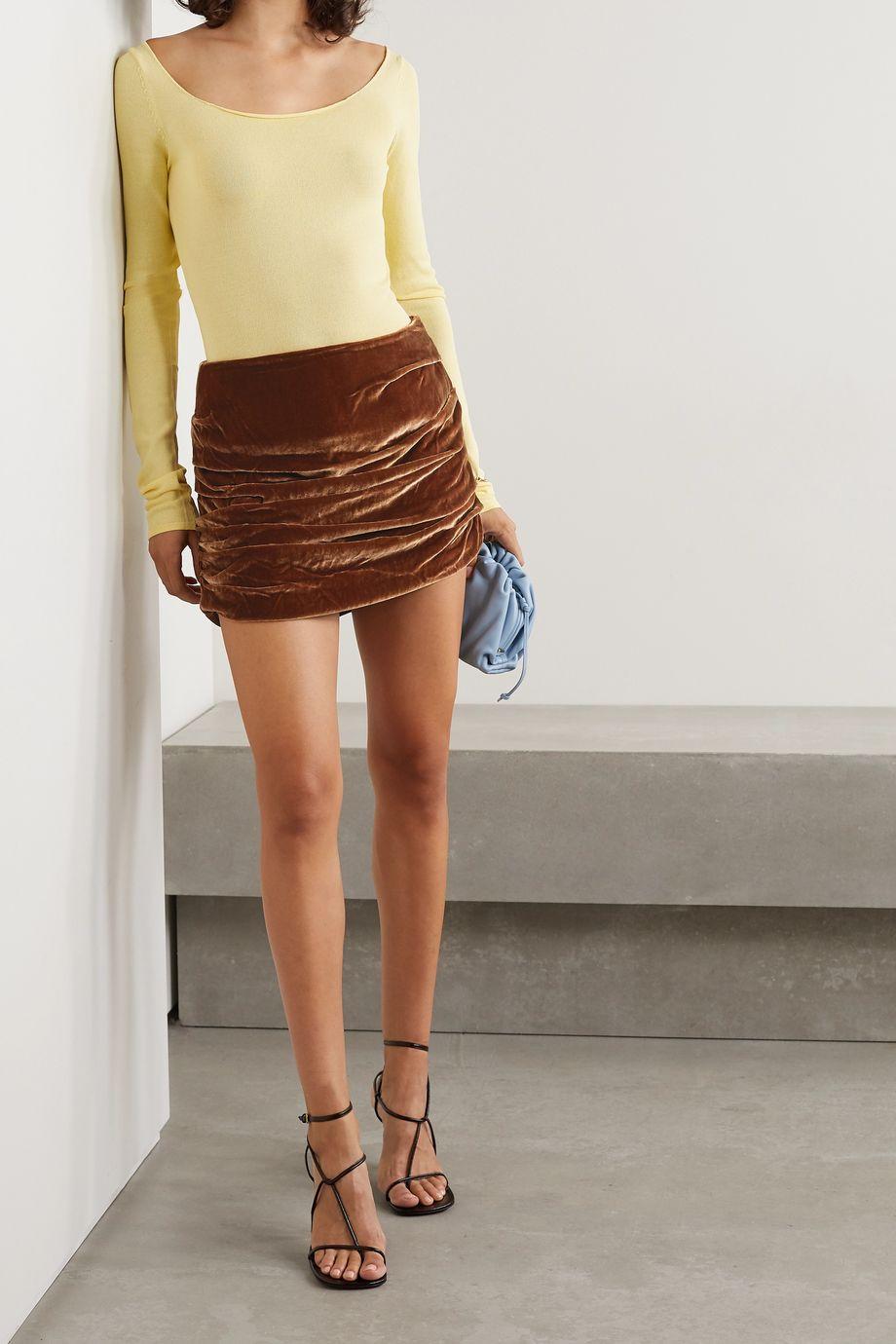 Georgia Alice Ruched velvet mini skirt