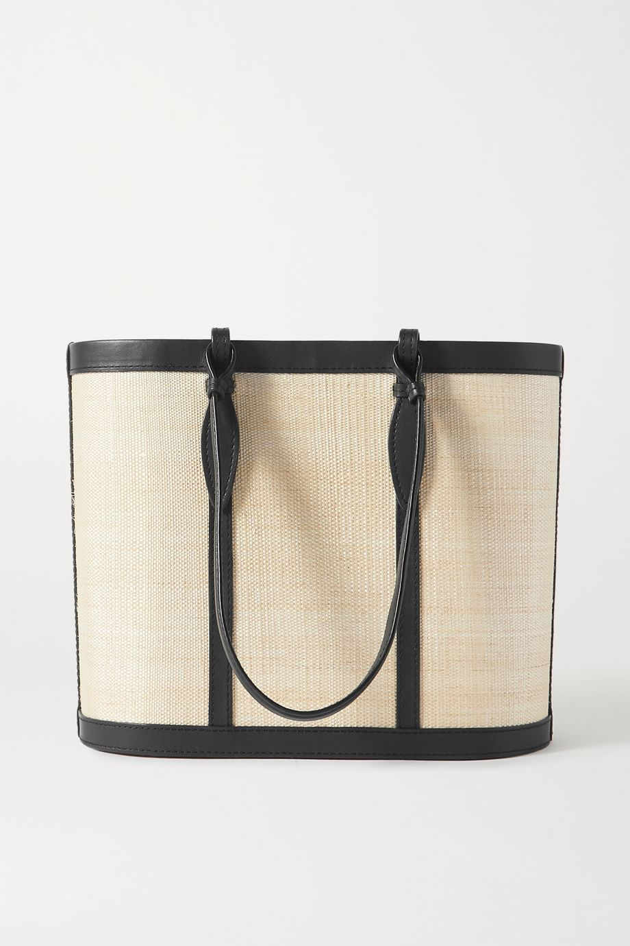 Hunting Season Basket leather-trimmed raffia tote