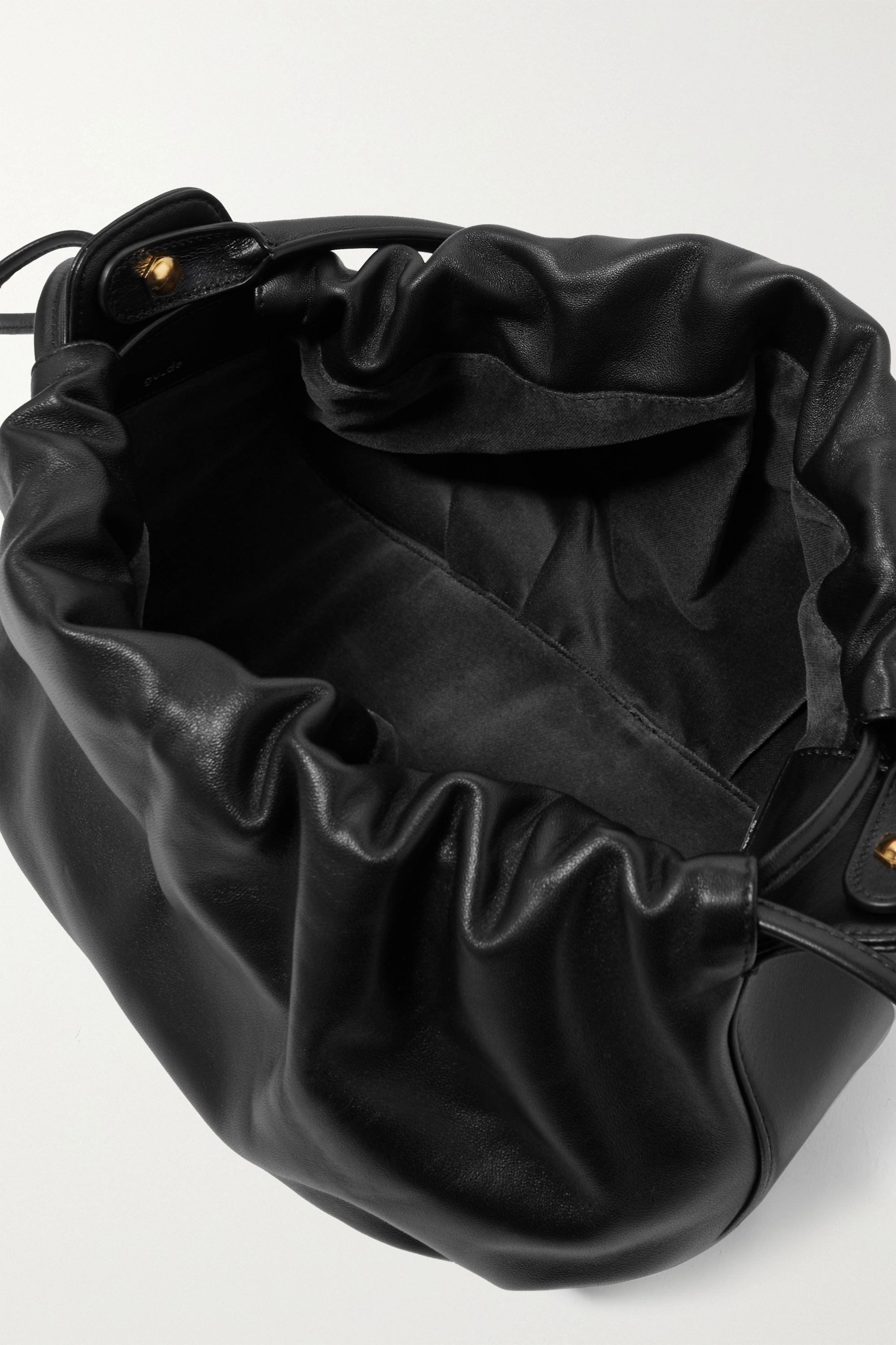 Black Bonnie Reversible Gathered Leather And Velvet Tote | Gu_de