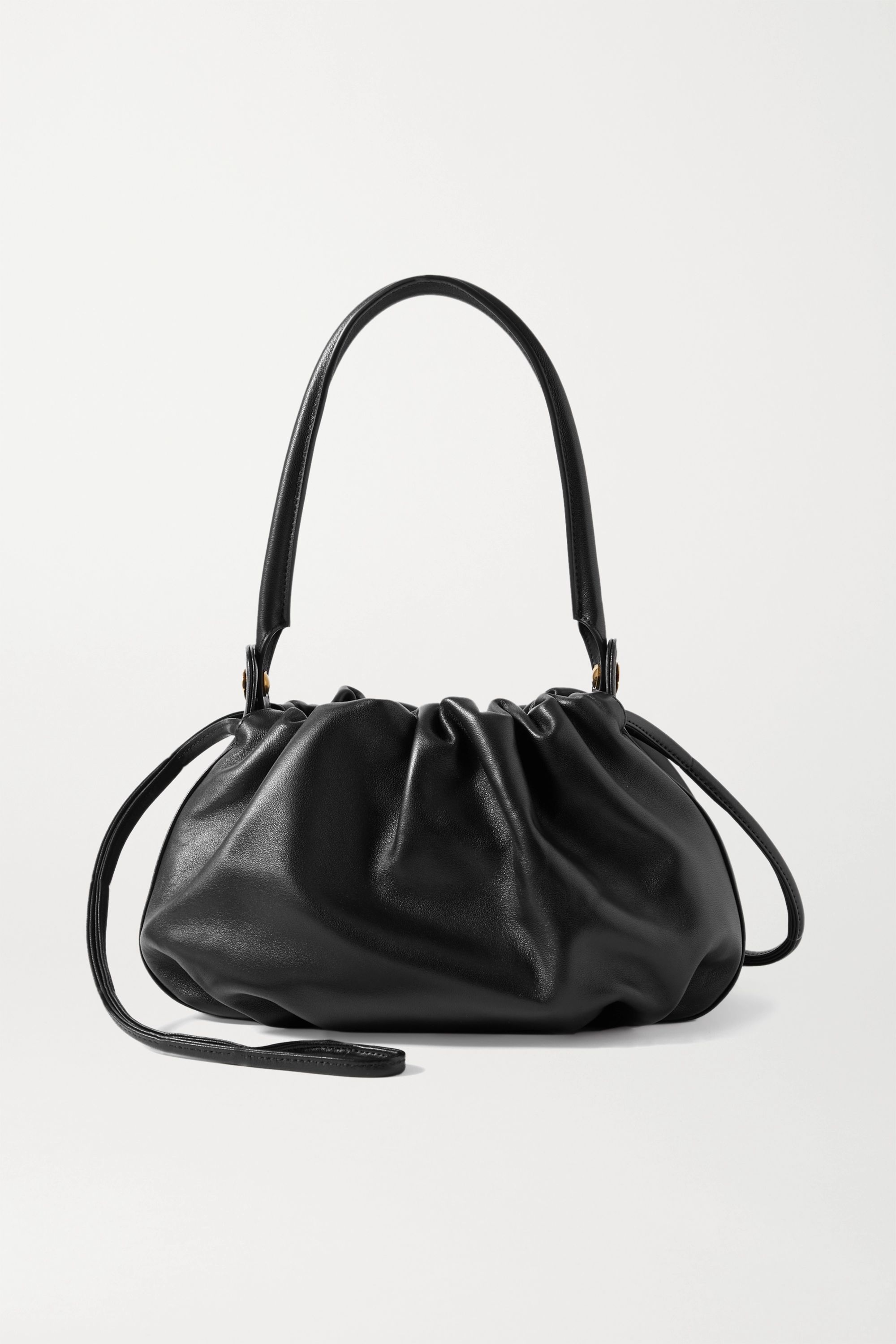 Gu_de Bonnie reversible gathered leather and velvet tote