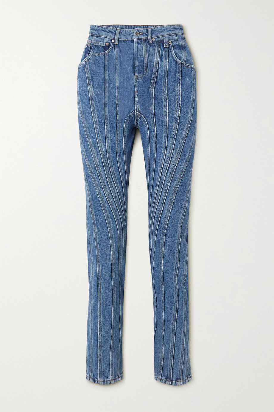 Mugler Paneled high-rise straight-leg jeans