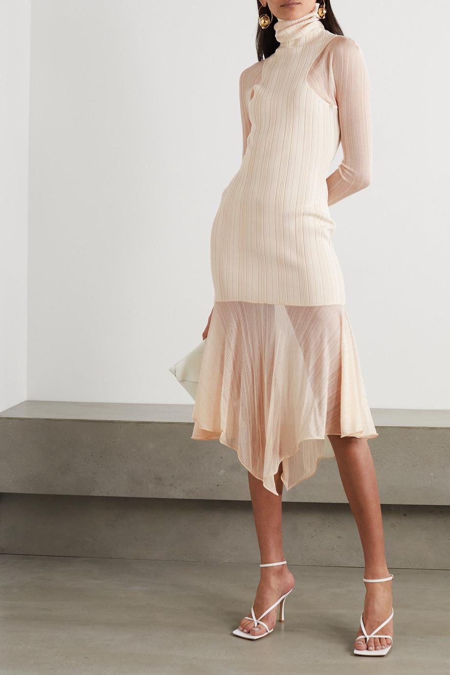 Mugler Paneled ribbed-knit turtleneck midi dress
