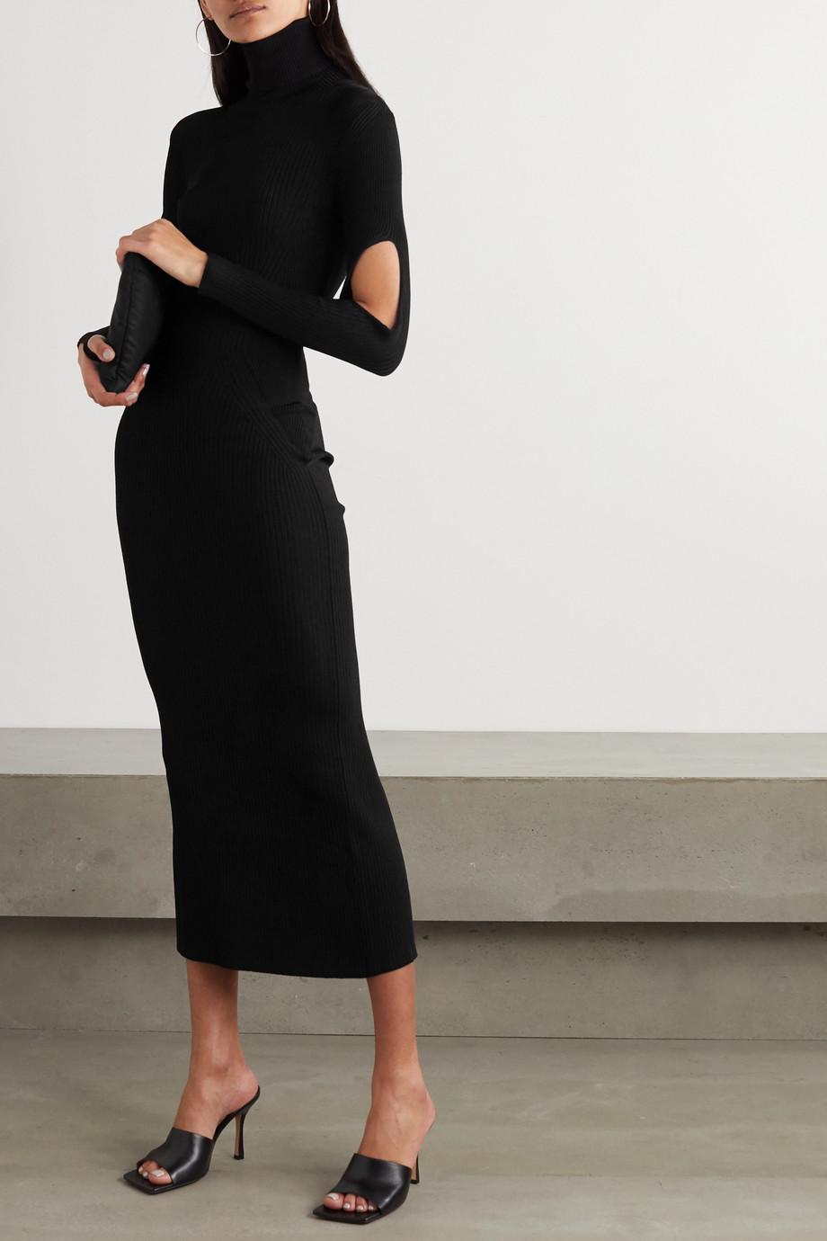 Mugler Cutout ribbed-knit turtleneck maxi dress