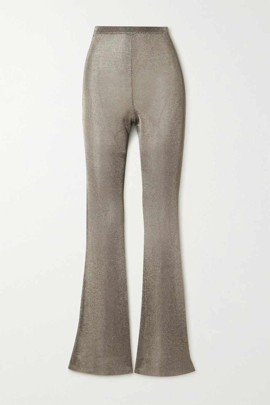 Mugler Metallic knitted flared pants