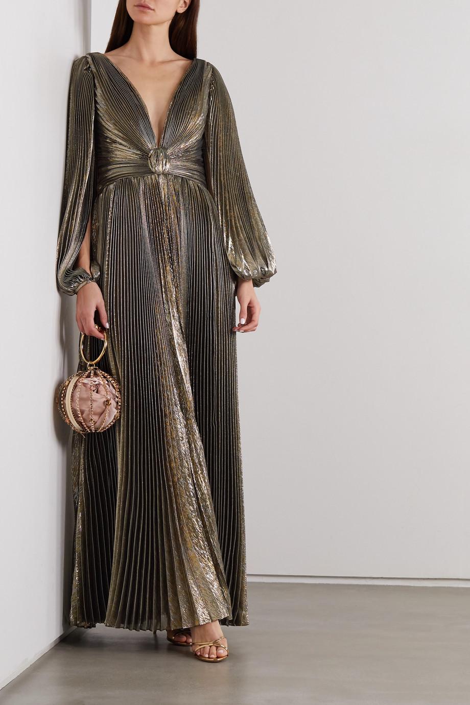 Oscar de la Renta Robe du soir plissée en lamé de soie mélangée à nœud