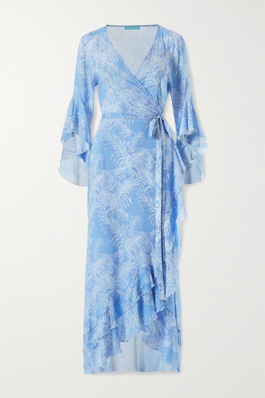 Melissa Odabash Cheryl ruffled printed voile wrap maxi dress