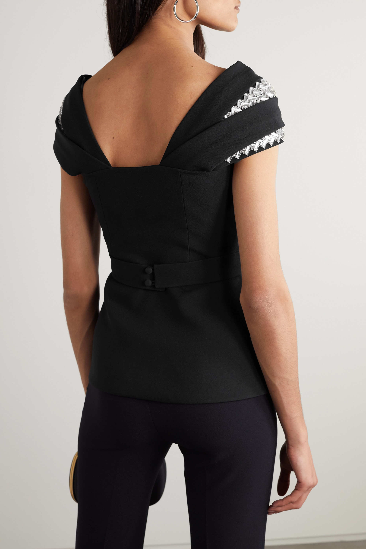 Black Brianna Belted Crystal-embellished Crepe Peplum Top | Safiyaa