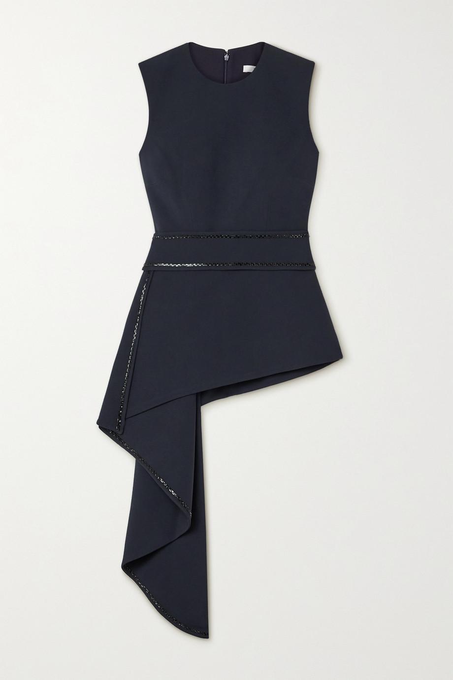 Safiyaa Corida asymmetric draped crystal-embellished stretch-crepe top