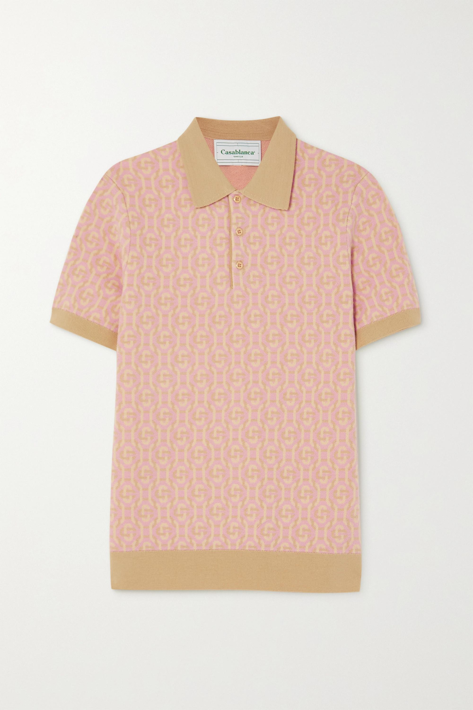 Peach Wool-jacquard polo shirt   Casablanca