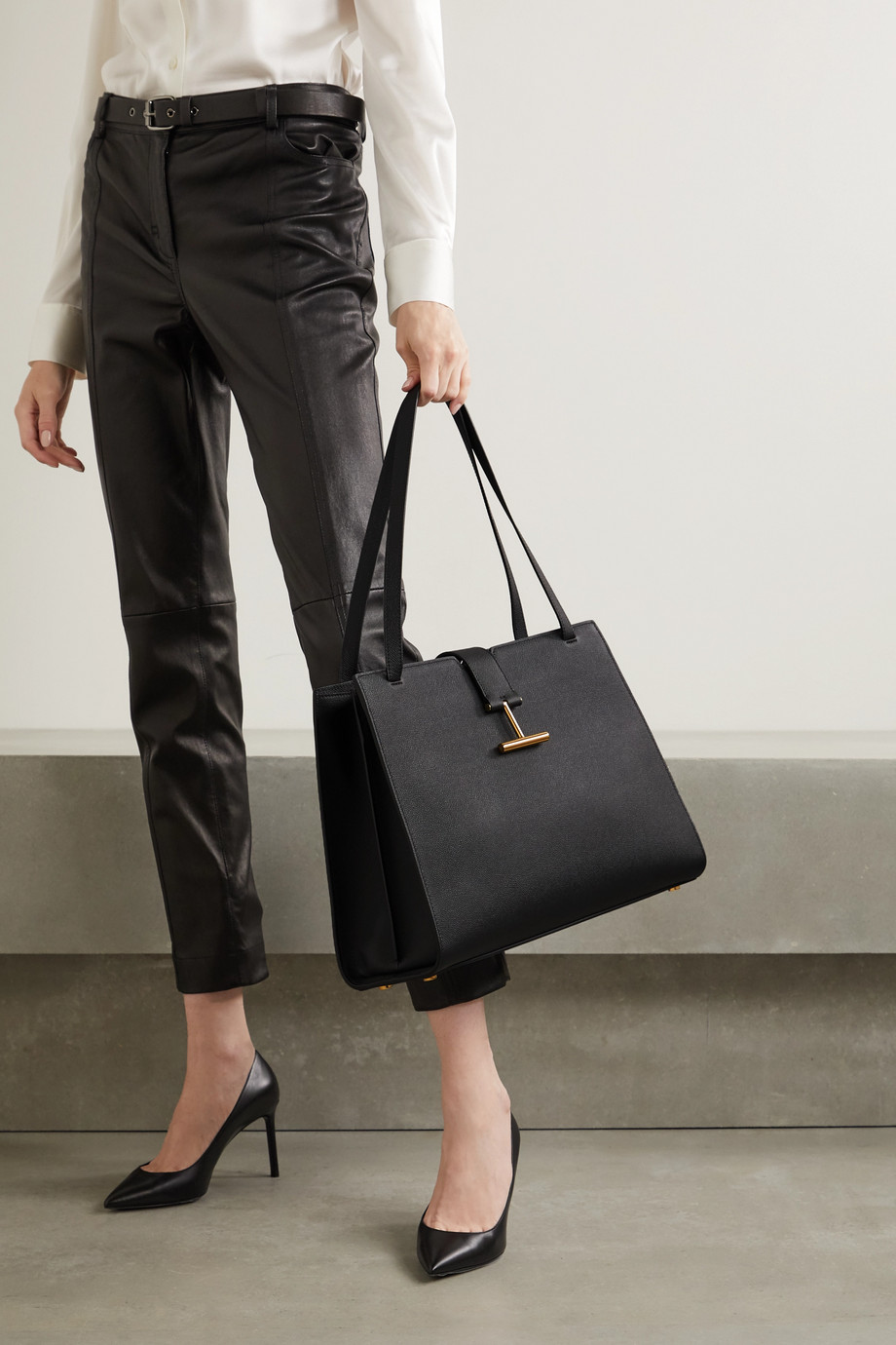 TOM FORD Tara textured-leather tote