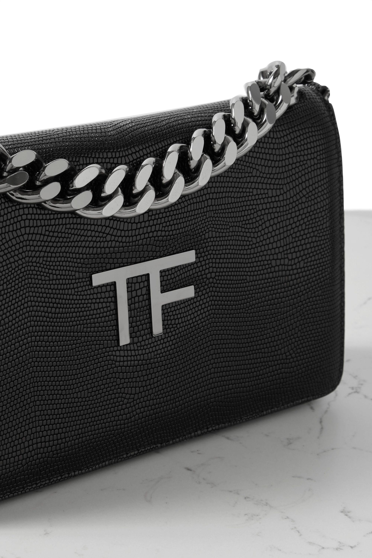 TOM FORD TF Chain Schultertasche aus Leder mit Eidechseneffekt