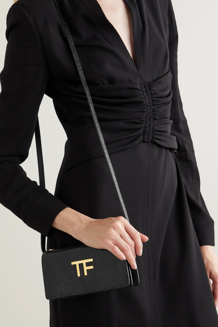 TOM FORD TF mini embellished lizard-effect leather shoulder bag
