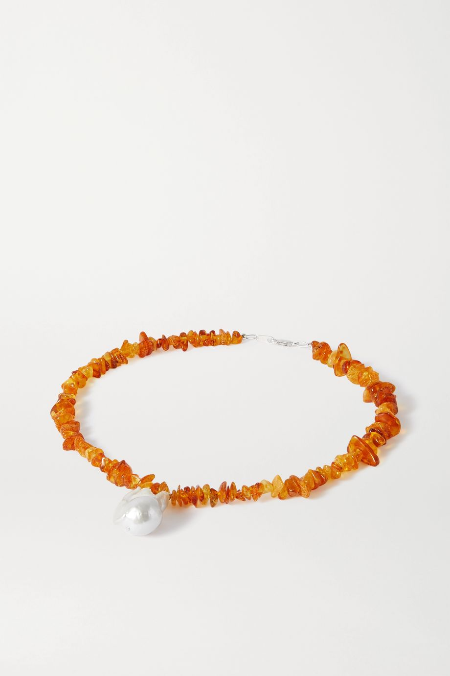 Santangelo Kitano silver, amber and pearl necklace