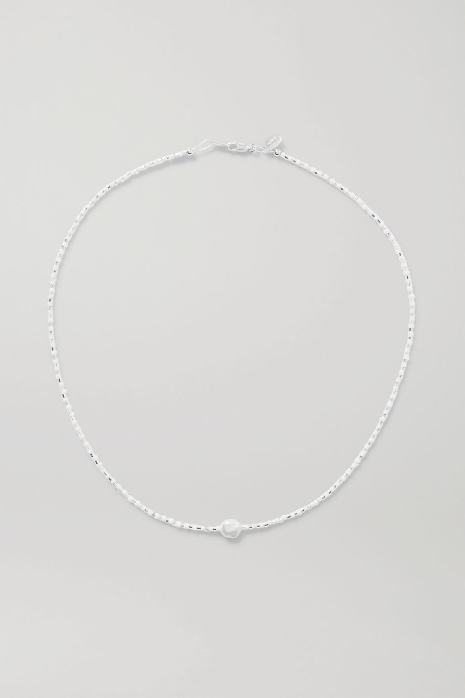 Santangelo Somos Como Niños silver, pearl and bead necklace