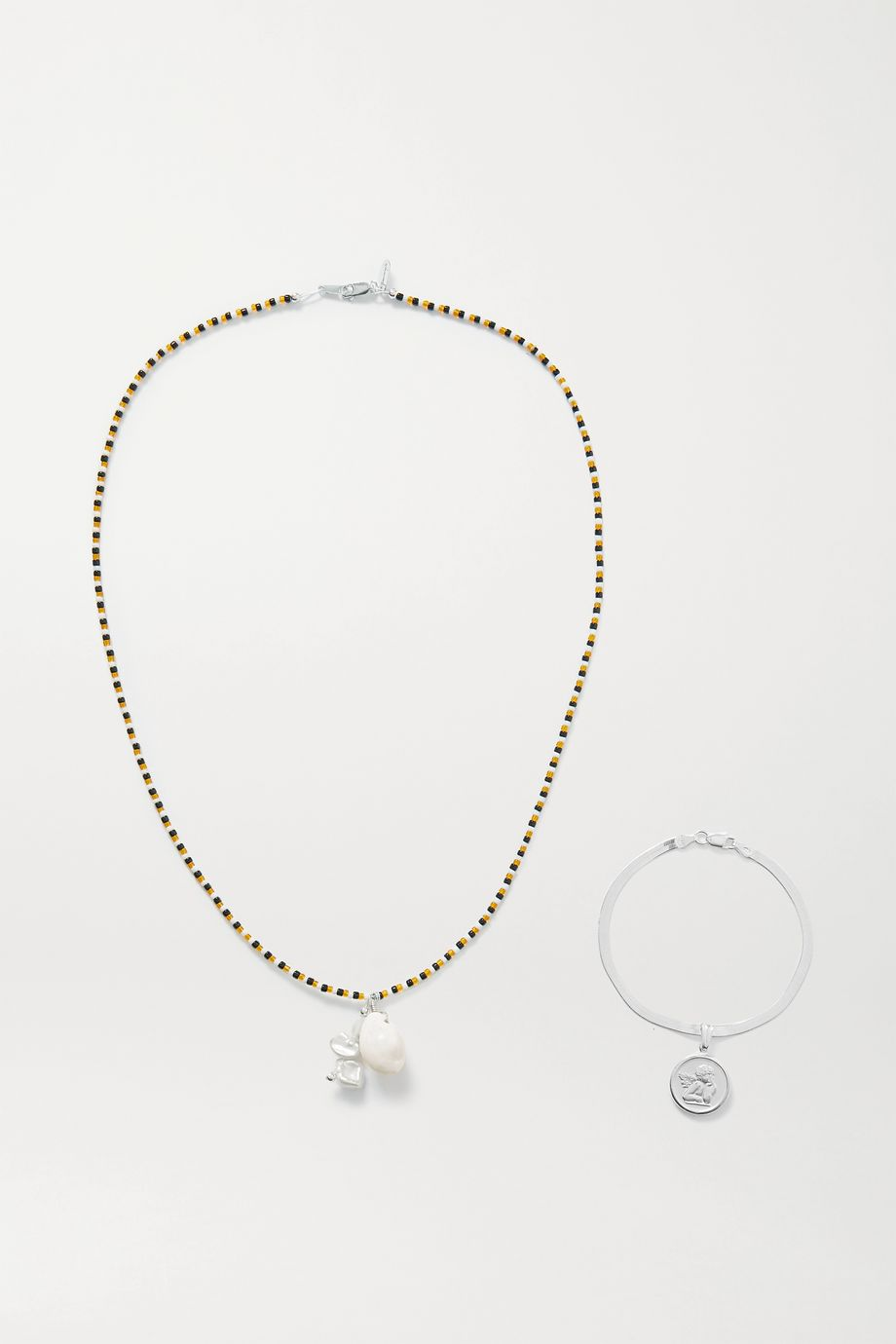 Santangelo Glory's Forever convertible silver, pearl, shell and bead body chain