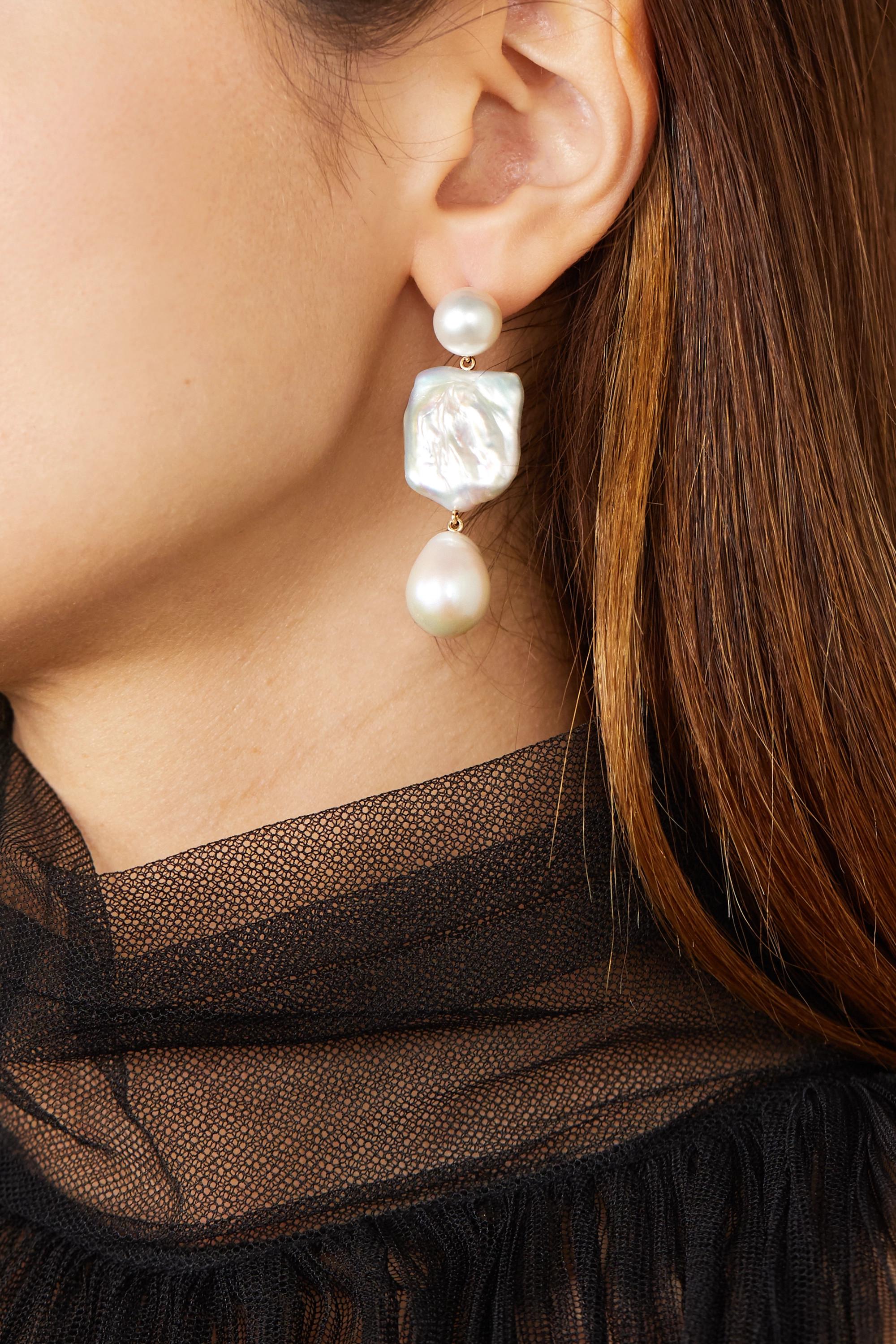 Sophie Bille Brahe Piet Perle 14-karat gold pearl earrings