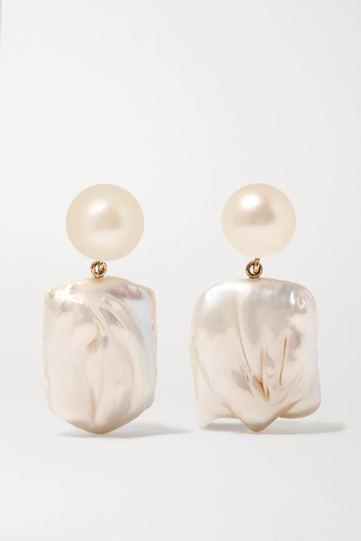 Sophie Bille Brahe Mondrian 14-karat gold pearl earrings
