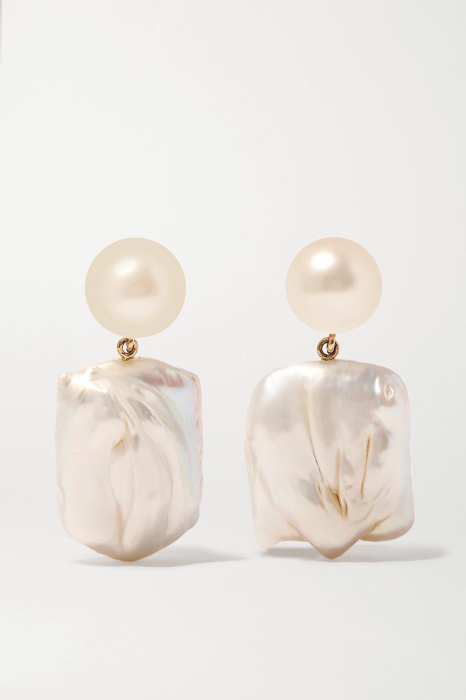 Sophie Bille Brahe Boucles d'oreilles en or 14 carats et perles Mondrian