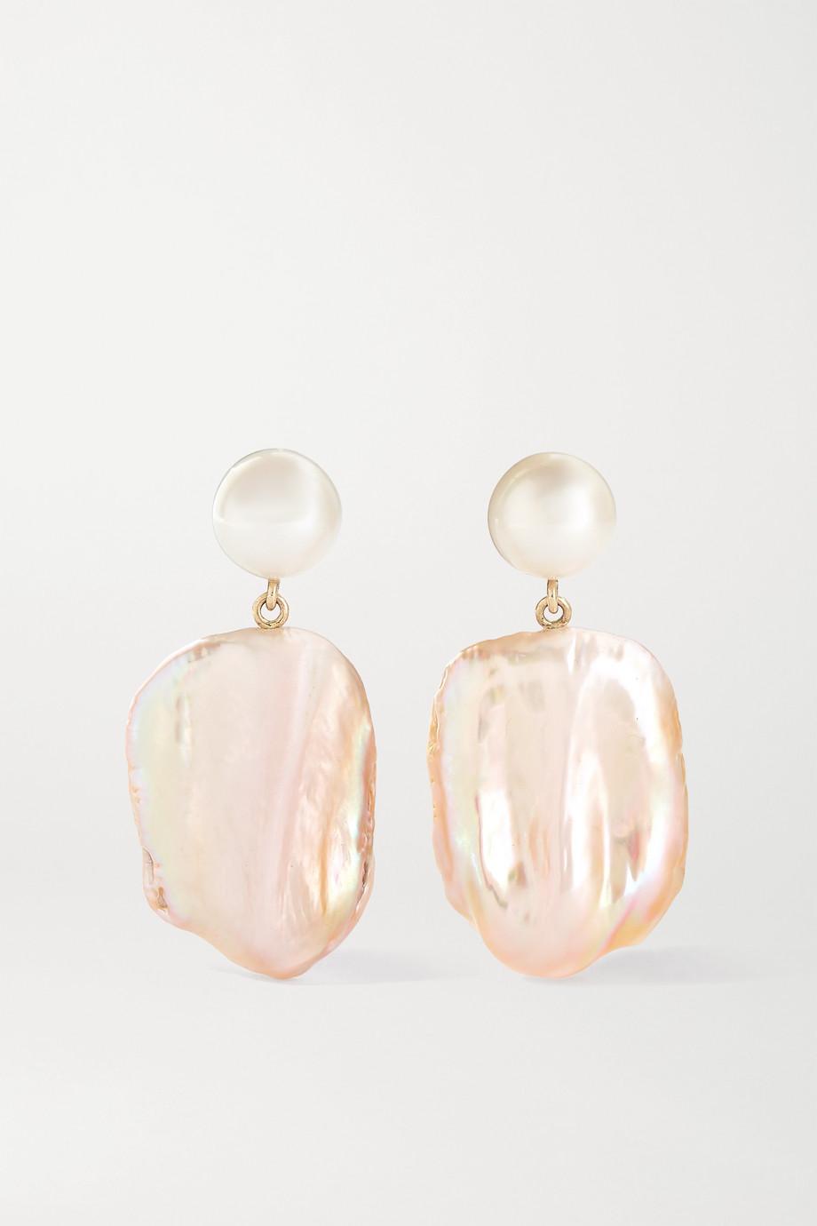 Sophie Bille Brahe Mondrian Rouge 14-karat gold pearl earrings