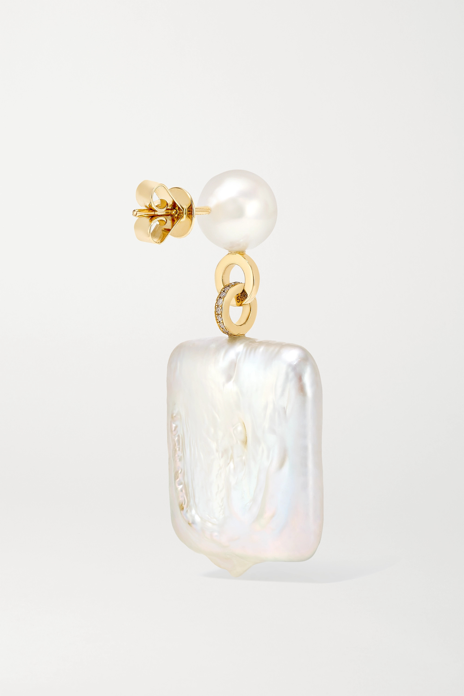 Sophie Bille Brahe Mondrian Diamant Ohrringe aus 14 Karat Gold mit Diamanten und Perlen