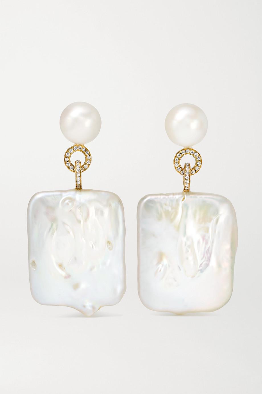 Sophie Bille Brahe Boucles d'oreilles en or 14 carats, perles et diamants Mondrian Diamant