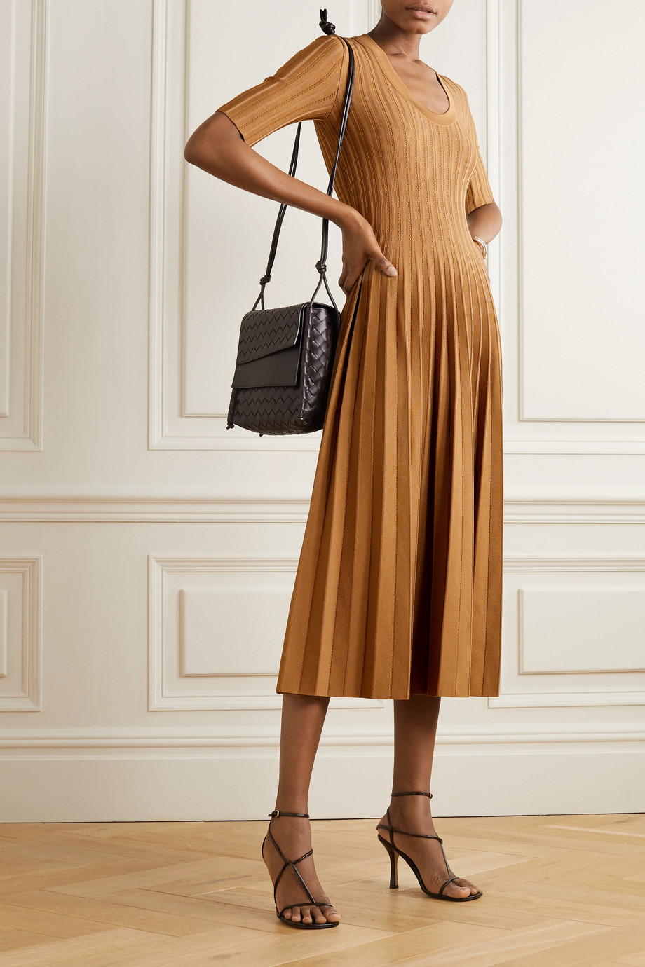 CASASOLA + NET SUSTAIN Eva ribbed stretch-knit midi dress