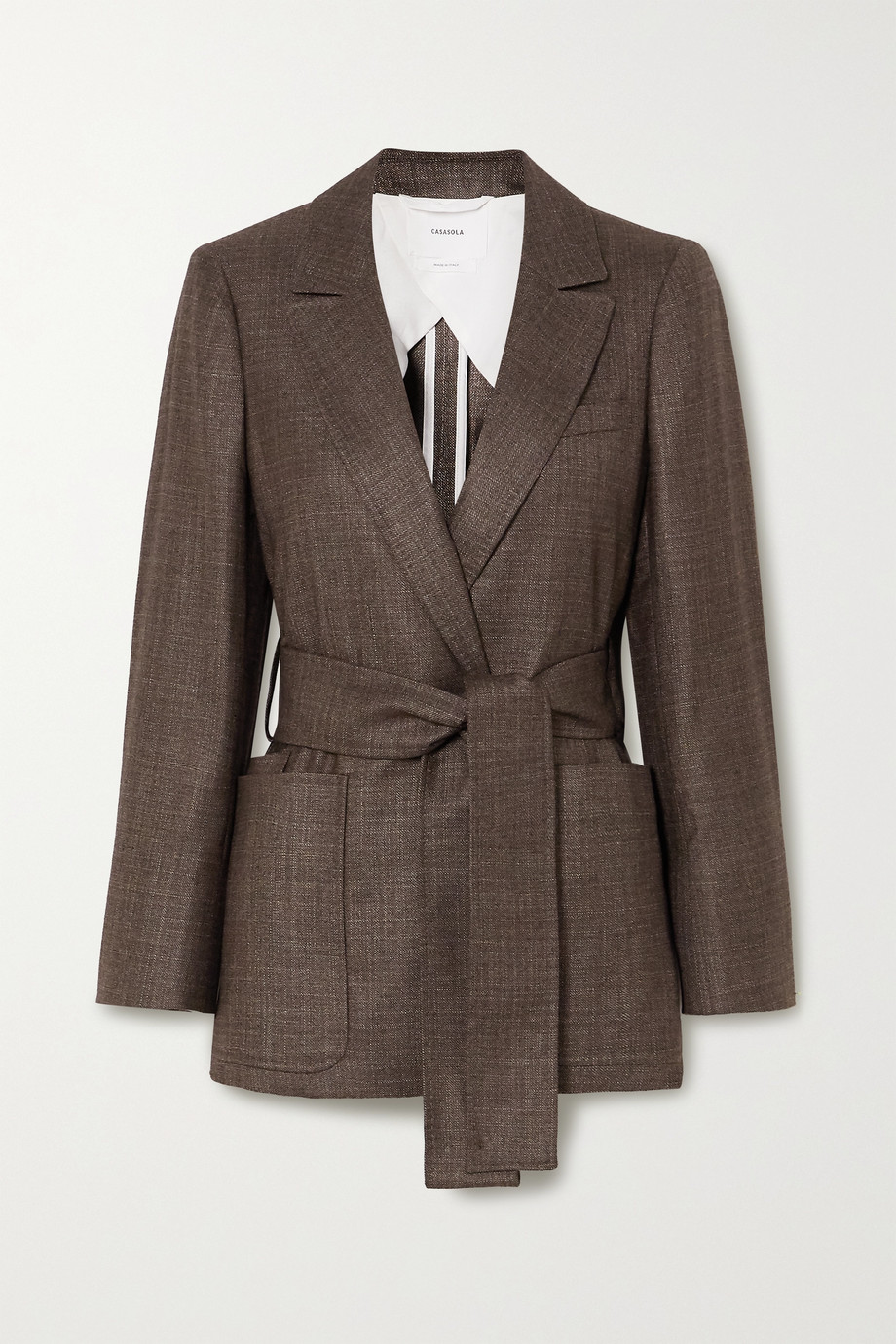 CASASOLA + NET SUSTAIN Giorgio belted silk and cashmere-blend blazer