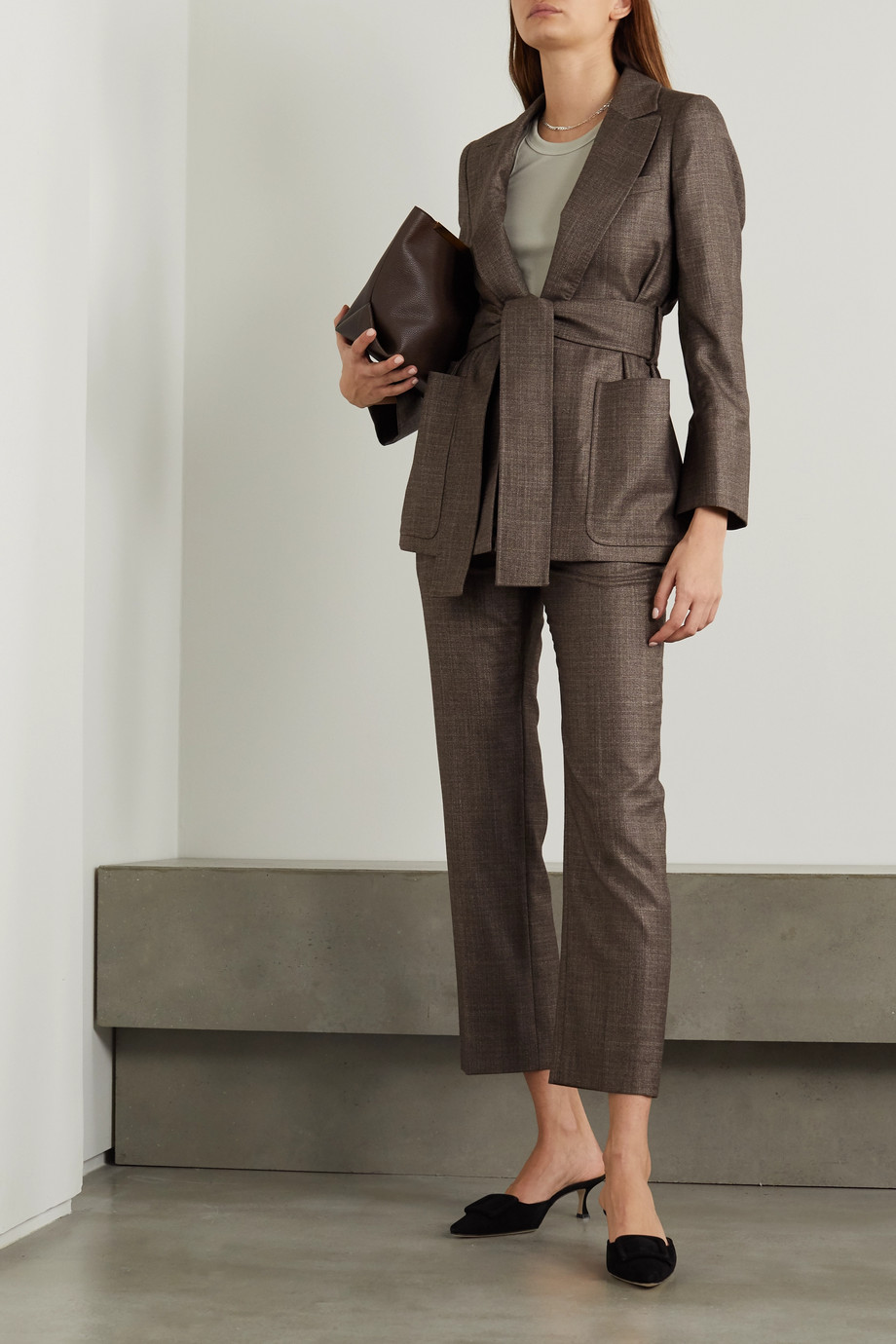 CASASOLA + NET SUSTAIN Treviso silk and cashmere-blend straight-leg pants