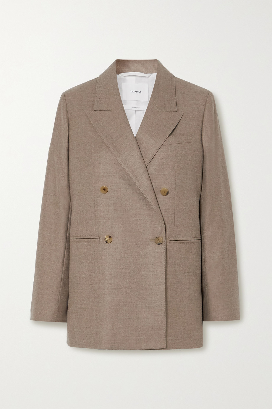 CASASOLA + NET SUSTAIN Carioca double-breasted wool and silk-blend blazer