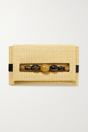 Serena Uziyel Sotiria embellished faux leather-trimmed raffia clutch