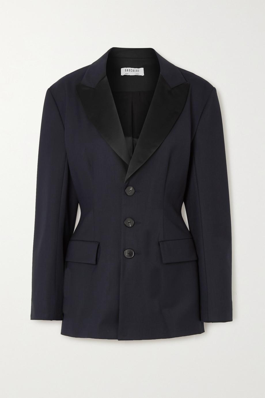 GAUCHERE Rachel satin-trimmed wool-blend gabardine blazer